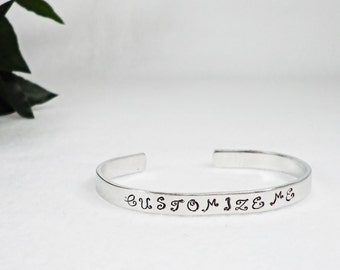 Custom Bracelet Cuff - Personalized Bracelet - Custom Cuff - Handstamped Cuff - Girlfriend Gift - Personalized Gift - Gifts Under 20