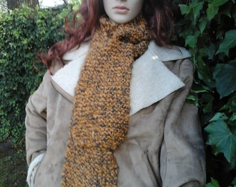 Hand-Knitted Yellow/Black (Golden Mist) Winter Scarf
