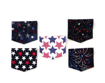 Iron On / Sew On Pockets, 4th of July, DIY Mommy and Me, T Shirt Pockets, Patriotic Red White and Blue Stars, Gift For Mom, Girls & Boys