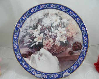 """1992 W.S. George Lena Liu Basket Bouquet series """"Lilies"""" - Limited Edition Collector Plate"""