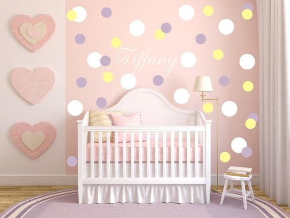 Mini circle wall decals, Polka Dot Decals, Girls Nursery, Girls wall decals, Bubbles, Custom Name Vinyl Decals, Geometric Wallpaper Patterns
