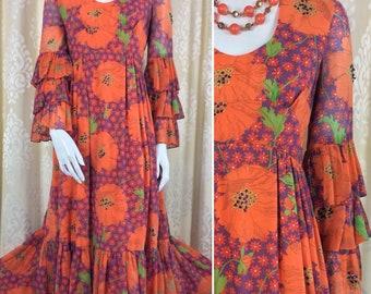 Lovely Vintage Seventies Tangerine Poppy Print Maxi Dress UK Size Original Vintage 1970's 70's