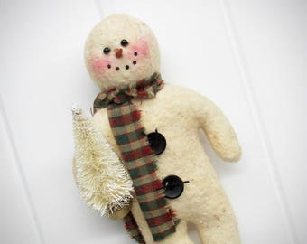Primitive Snowman Ornament with Tree
