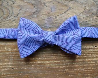 Cotton Bow Tie - Geometrically Purple