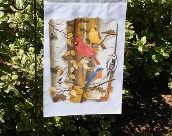 Birds on the Birch Tree White Garden Flag