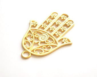 1pc Matte 22K Gold Plated Base Hand of Hamsa Pendant - 80x60mm-(010-002GP)