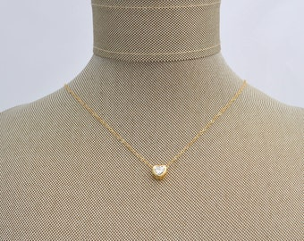 Heart CZ Cubic Zirconia Pendant Charm Necklace // Kelley Collection // Dainty Simple Layering Necklace Gold Filled