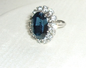Vintage Original Lady Diana Adjustable Engagement Ring-Sapphire Blue & Clear Rhinestones