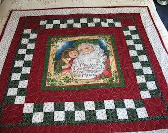 Quilted Victorian Santa with Girl Lap Quilt or Sofa Quilt