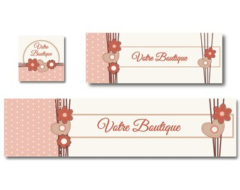Banner shop and facebook flowers pink-orange