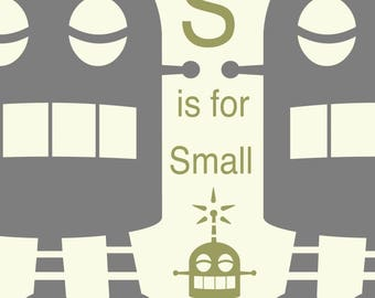 Alphabet Art print - Robot Art, Letter S art, robot nursery decor, baby boy gift, kid wall art, alphabet art, Classroom Art, Educational Art