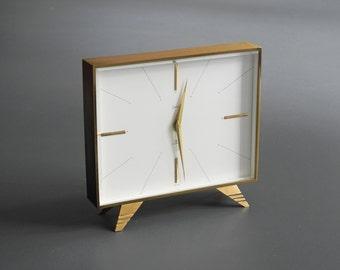 Beautiful little rare original swiss mid century mechanical brass table desk clock