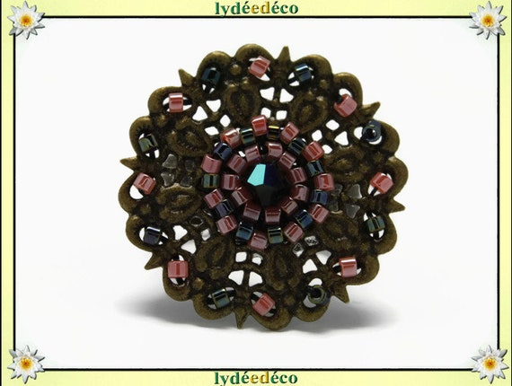 Japanese coral gray glass 25mm bronze beads charm retro vintage adjustable flower ring