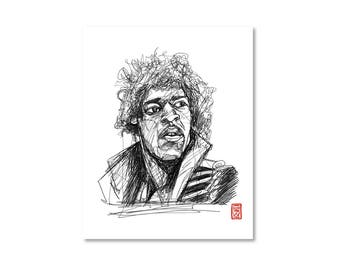Jimi Hendrix / Black and White / Fine Art Print / Giclee / Yokai Illustration / Artist Portrait Series / One Line / Continuous Line