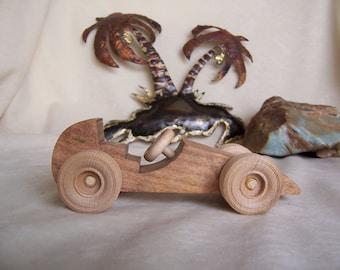 Mini Road Racer Car Handmade from Reclaimed Mesquite Wood, for Kids, Children