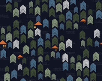 Lights of the Night Forest Fabric by AgatheSTS