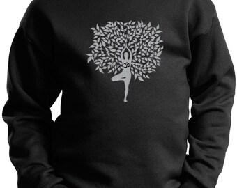 Kid's Yoga Sweatshirt Grey Tree Pose Sweat Shirt = PC90Y-GTREEPOSE