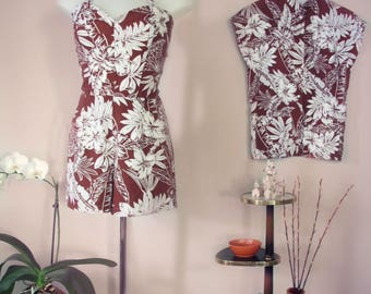 Swell Dame playsuit & teatimer with hawaiian print / Made to measure/Many fabric options