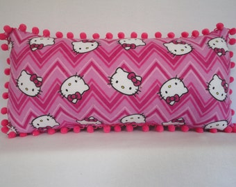 Hello Kitty Pillow in Pink and Rose Zigzag / Character Pillow / Girls Pillow / Pink Pillow / Girls Room Decor / Accent Pillow