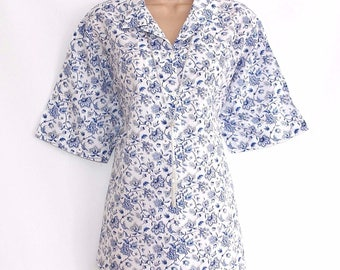Vintage White Blue Floral Viscose MISS TS Loose Baggy Women's Shirt Blouse Size UK16 UK18