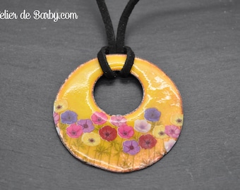 Necklace yellow enamels on copper-yellow copper enamel necklace
