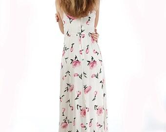 Roses 80s Vintage Maxi Dress Hippie Boho Bohemian Summer Sun white belted high waist summer dress Middle