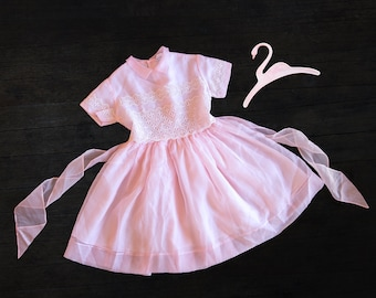 Girls Vintage Sheer Pink Dress - 1960s - Cinderella by Shirley Temple - Size 5