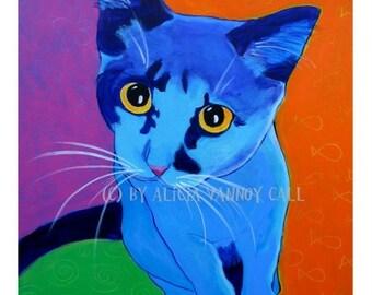 Cat, Pet Portrait, DawgArt, Cat Art, Pet Portrait Artist, Colorful Pet Portrait, Kitten Art, Pet Portrait Painting, Art Prints