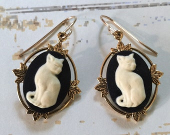 Cat Earrings - Cat Jewelry - Black and Creme Cameo - Gold Filled Earwires