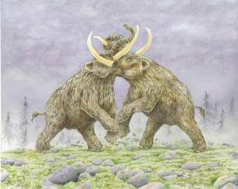 Mammut americanum (Mastodons) - Giclee Print of Watercolor Original