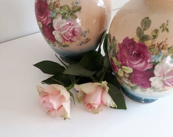 Pair Of Floral  Transferware Vases