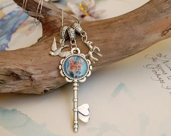 Lady Fox Charm Necklace Key Charm Fox Art Victorian Fox Key Necklace Celtic Knot Necklace