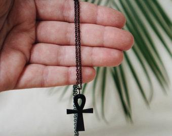 Ankh Necklace, Ankh Jewelry, African Necklace, African Jewelry, Ankh Charm Necklace, Small Ankh Charm Necklace, Black Ankh, Egyptian (NA03)