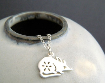 sterling silver rat necklace. small Chinese zodiac symbol Shengxiao sheng xiao tiny spirit animal sign pendant. simple charm jewelry gift