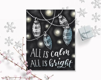 All is Calm all is Bright Christmas Printable, 5 x 7, 8 x 10, Christmas Decor, Blue Christmas Decor, Holiday Prints, Christmas Quote, Lights