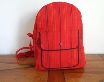 Mixed red and Black canvas backpack