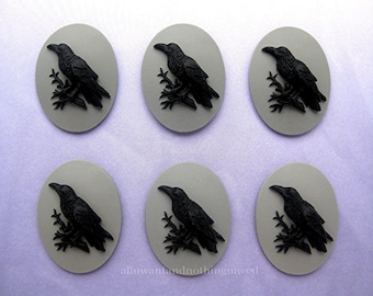 6 Gothic Black on GRAY Color Crow Raven Blackbird Black Bird 30mm x 20mm CAMEOS LOT Witch Wiccan Voodoo Goth Emo Resin for Costume Jewelry