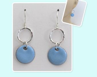 Sky Blue Circle Enamel Sterling Silver Hammered Circle Earrings