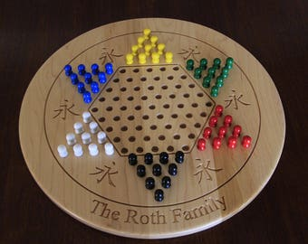 Custom Chinese Checkers  board personalized with your name. Made from Solid Maple wood. Gift for him or her with superior craftsmanship
