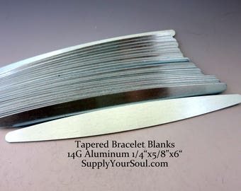 "Tapered Aluminum Bracelet Blanks, 1/4""x5/8""x6"", Metal Cuff Bracelet, 14G Aluminum Stamping Blanks, Cuff Blanks, Choose 4 to 24"