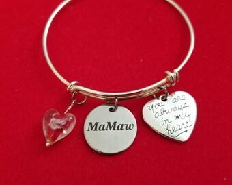 Silver Glass Heart Mamaw Charm Bracelet