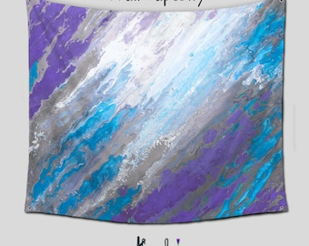 Blue Purple Wall Tapestry Hanging, Purple and gray Abstract art, Tapestries Boho, Turquoise Purple home decor, Outdoor, Dorm room divider