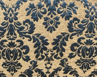 Bronze and Blue Chenille Jaquard Fabric