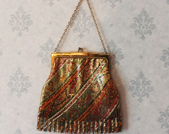 Vintage Brightly Colored Enameled Gold Lame Whiting and Davis Mesh Purse