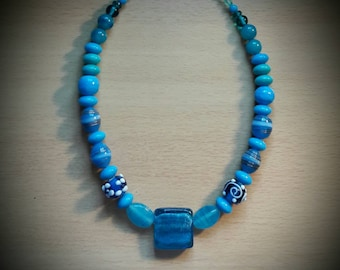 Shades of the sea - blue and turquoise glass lampwork beaded necklace