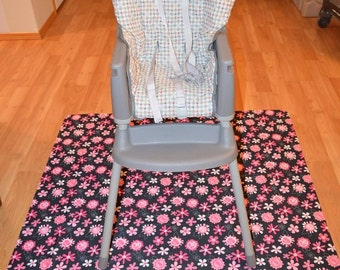 Pink&Black Flowers Splat Mat / Art  Mat - Baby High Chair Washable Protection - Choose Your Patttern