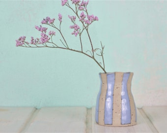 Small ceramic vase-light blue striped-vase in country house style-beautiful gift-handmade in Berlin-production on order