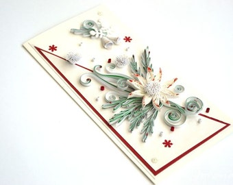 Quilling card/Winter card/ Christmas card/ Greeting card/ White Christmas card/  flowers/ Snowflakes/ 3d Christmas/xmas/ Winter wedding card