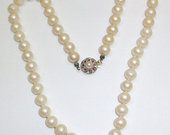 925 Silver beautiful Pearl Necklace classic art deco old vintage PK102