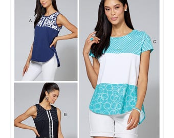 Sewing Pattern for Misses'/Women's Pullover Tops, Tunic Tops, Summer Tops,McCall's Pattern 7600, Summer 2017 Line, Plus Sizes